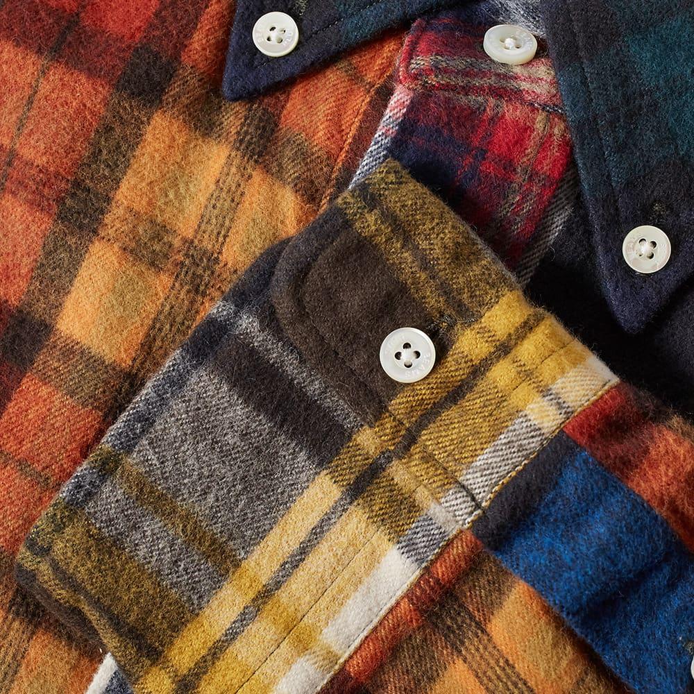 Beams Plus Shaggy Flannel Crazy Mix Check Shirt - Orange