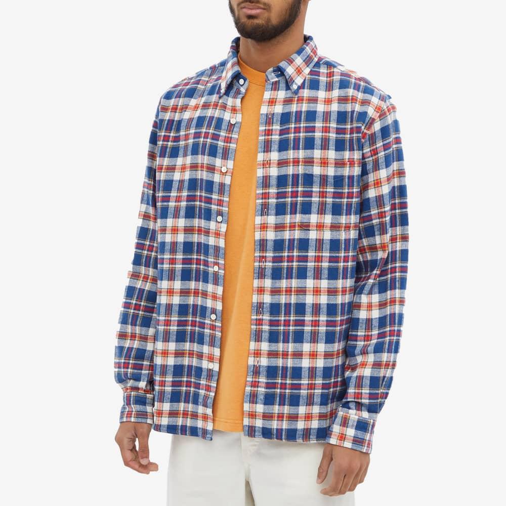 Beams Plus Button Down Check Flannel Shirt - Blue Check