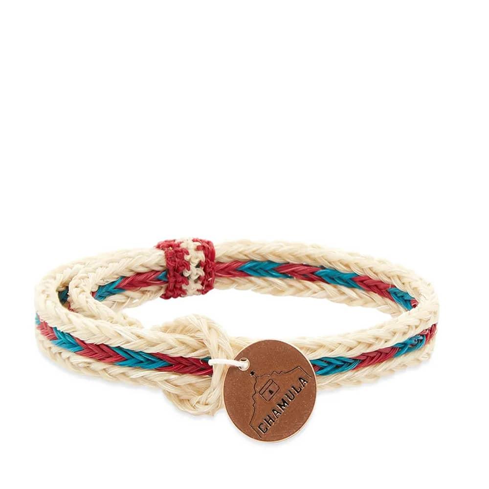 Chamula Braided Horsehair Bracelet - White, Red & Turquoise