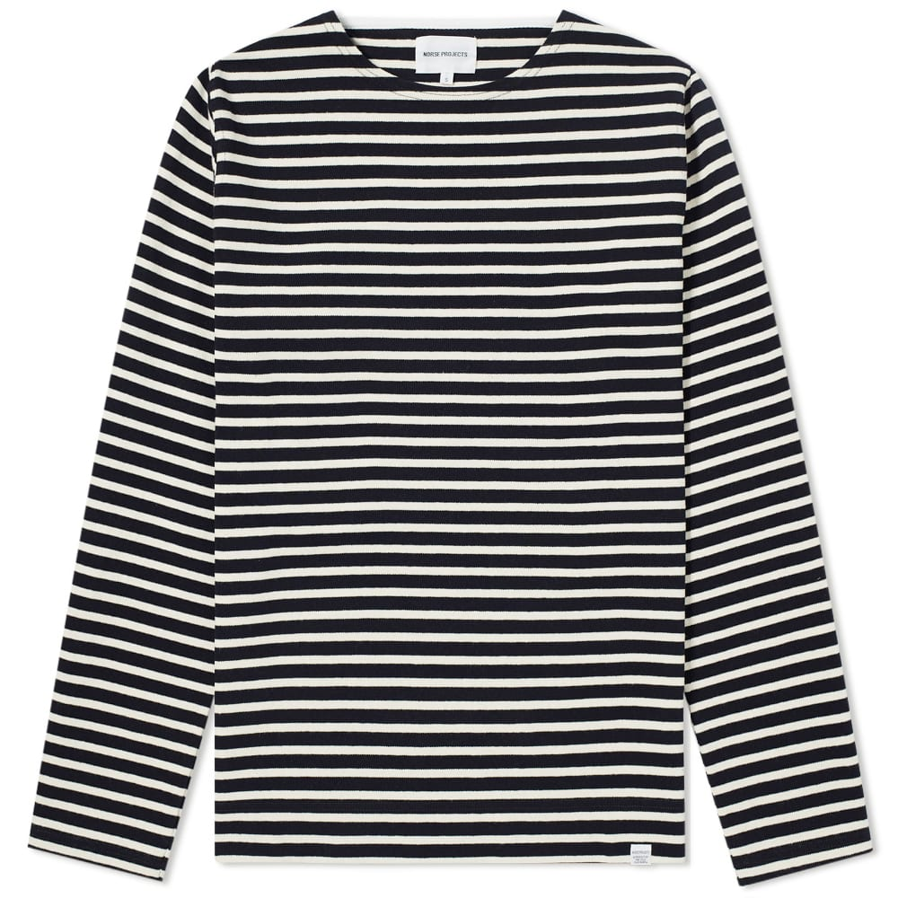 Norse Projects Long Sleeve Godtfred Classic Compact Tee - Navy Stripe