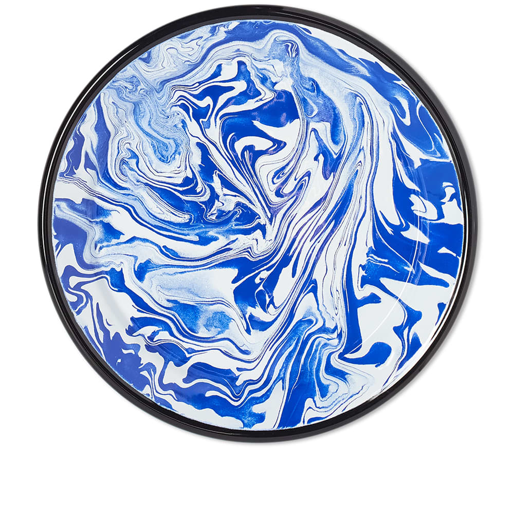 BORNN Enamelware Classic Marble Large Plate - Blue