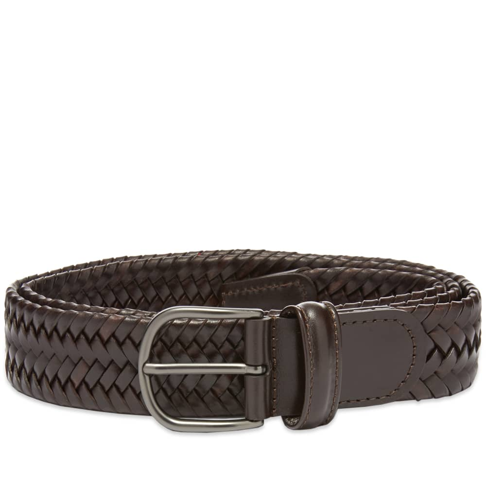 Anderson's Stretch Woven Leather Belt - Dark Brown