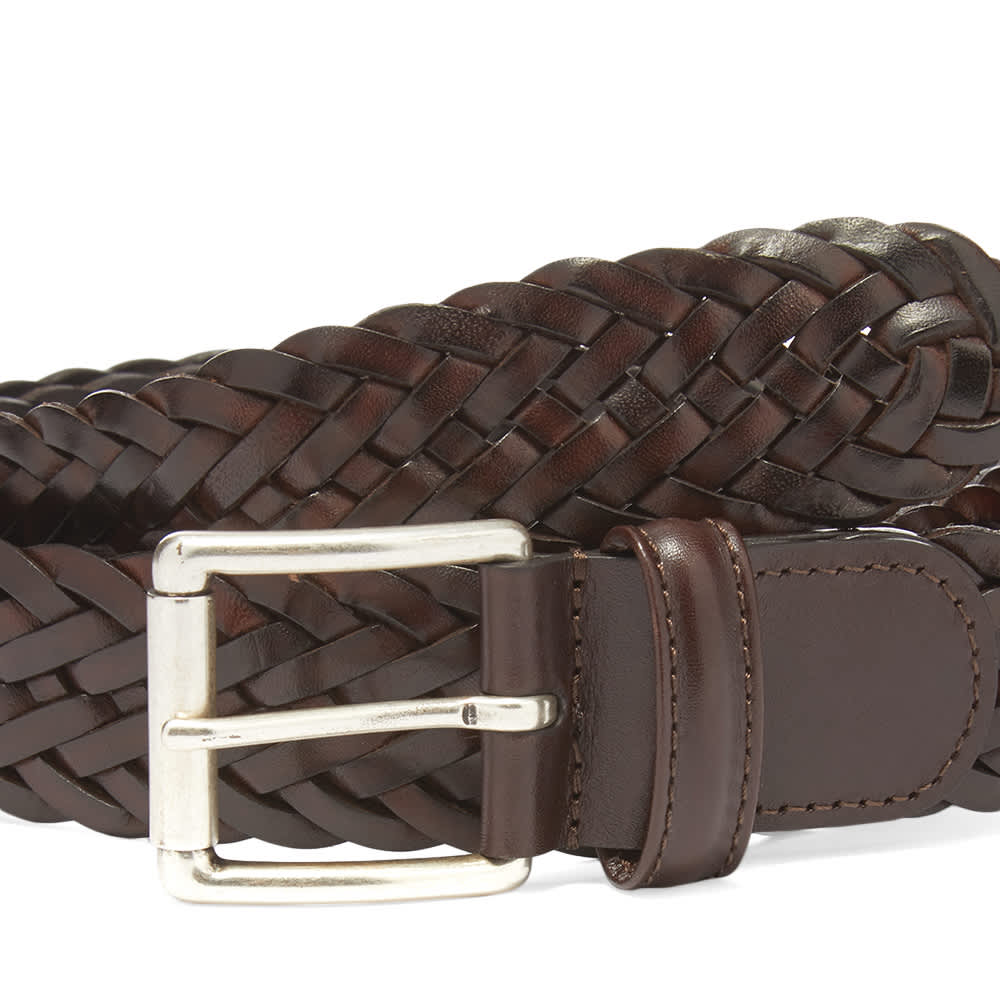Anderson's Woven Leather Belt - Dark Brown