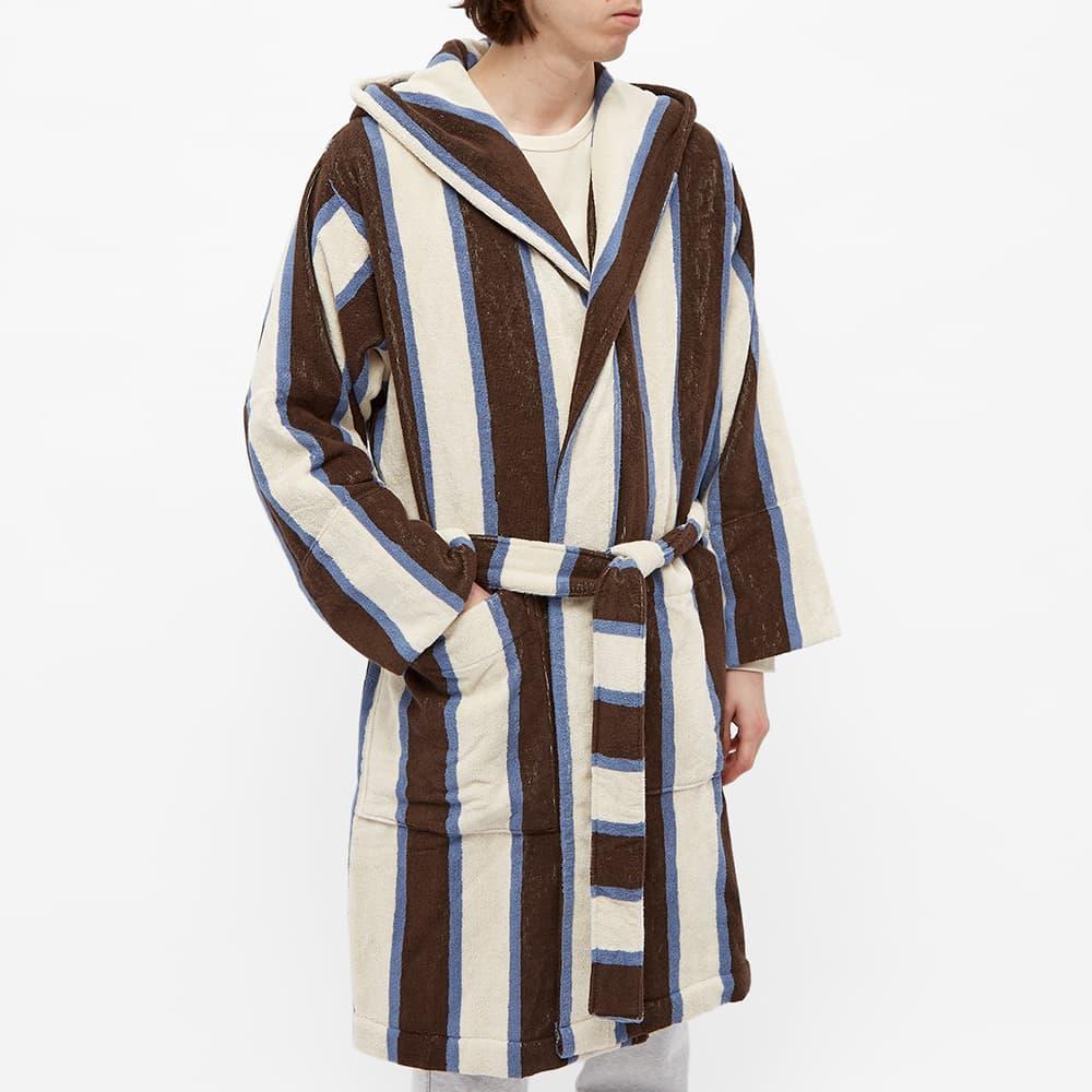 Tekla Fabrics Terry Stripe Bathrobe - Cocoa White