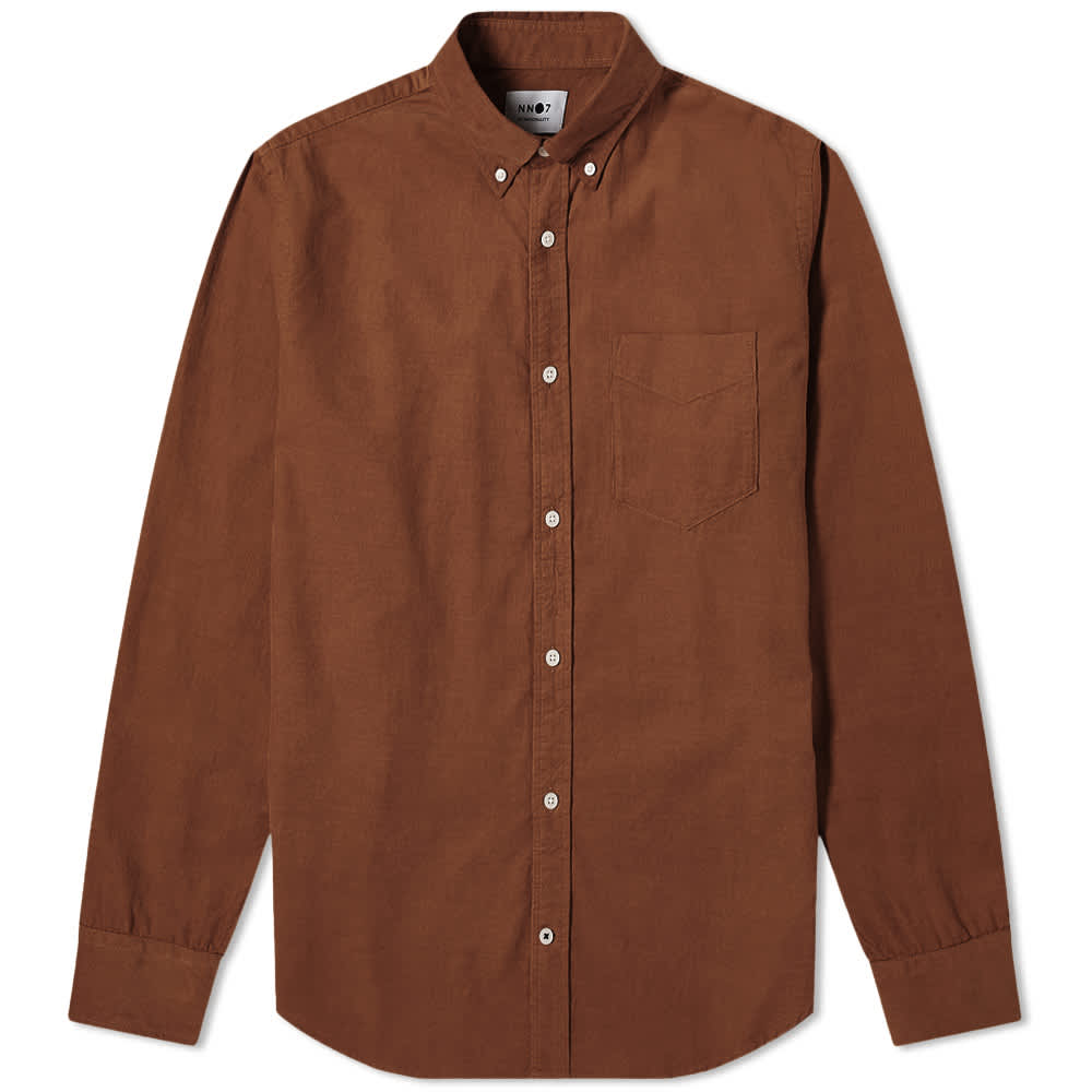NN07 Levon Button Down Corduroy Shirt - Brown