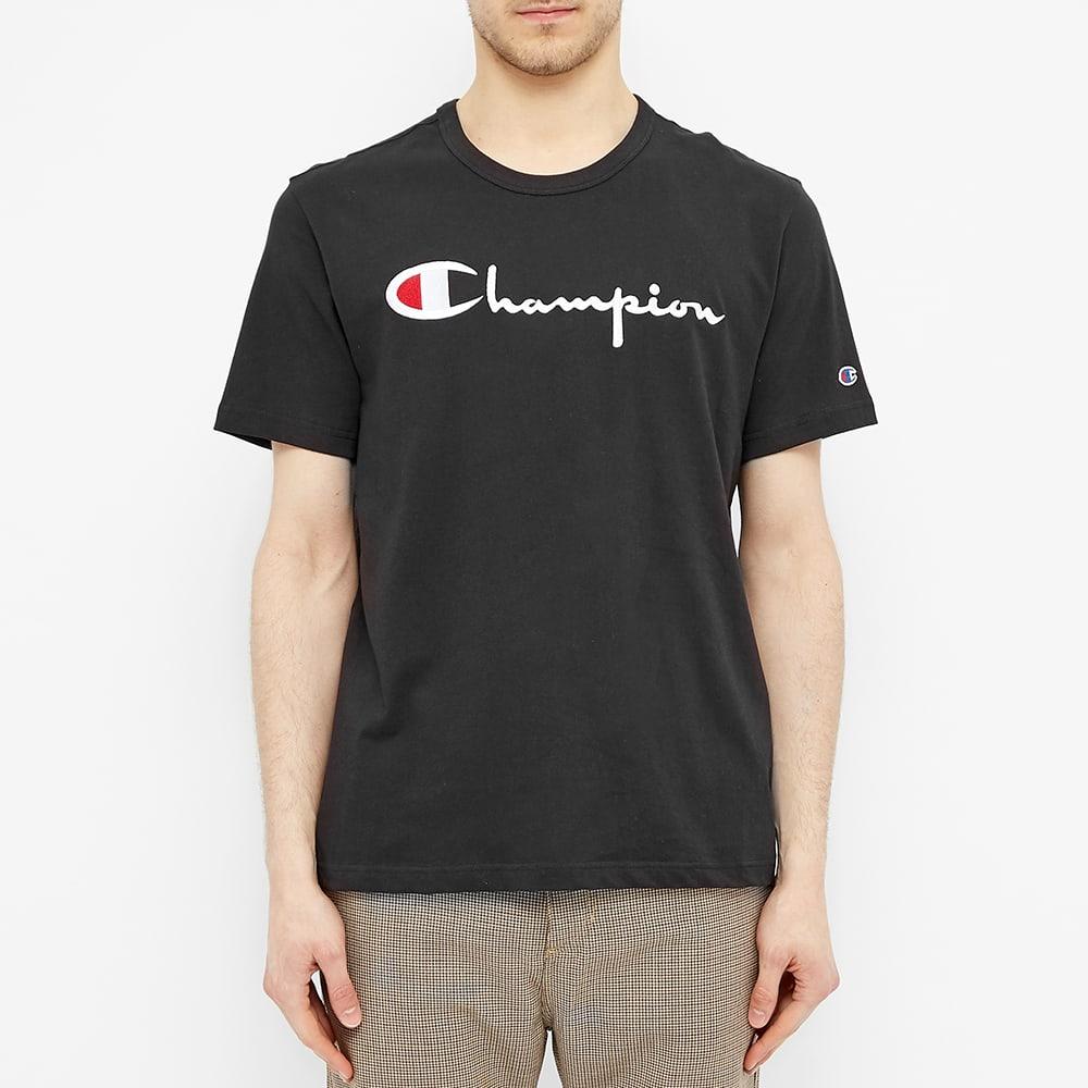 Champion Reverse Weave Script Logo Tee - Black