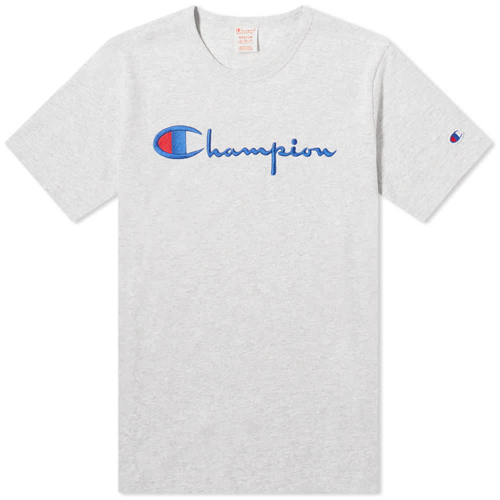 Champion Reverse Weave Script Logo Tee - Grey Melange