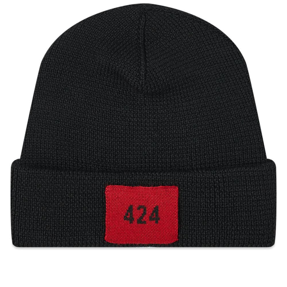 424 Logo Ribbed Beanie - Black