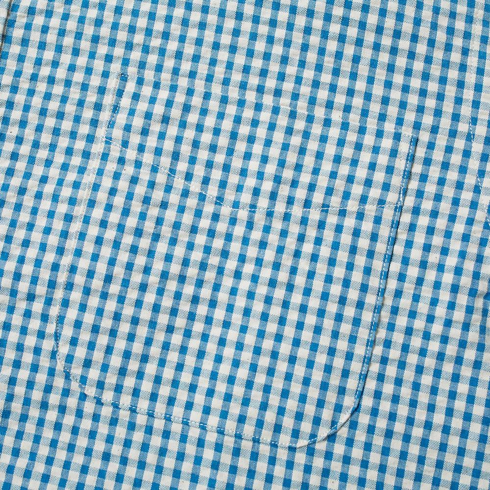 Beams Plus Short Sleeve Popover Indigo Seersucker Shirt - Gingham