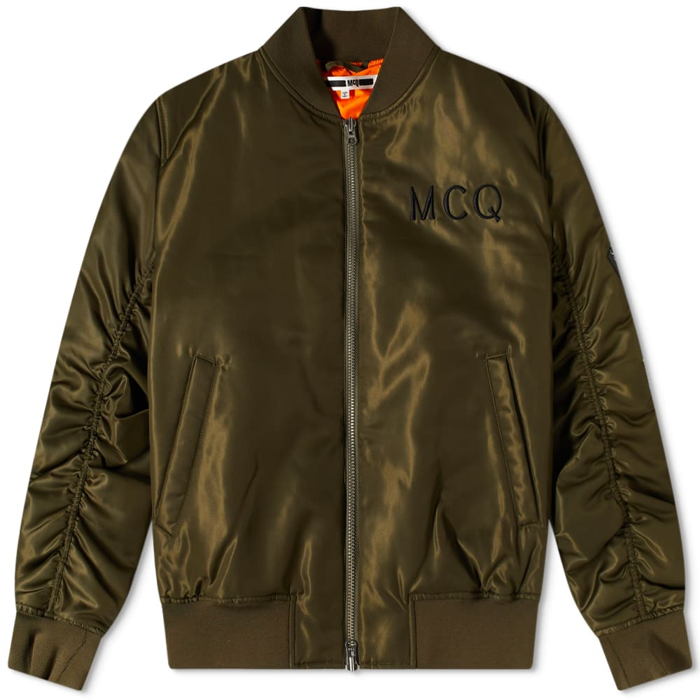 MCQ Embroidered Logo MA1 Bomber Jacket - Military Khaki