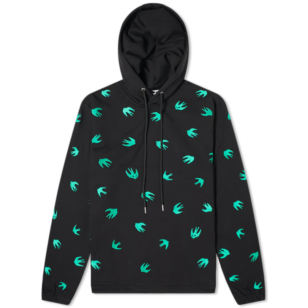 McQ Swallow All Over Embroidered Swallow Hoody - Darkest Black & Jade