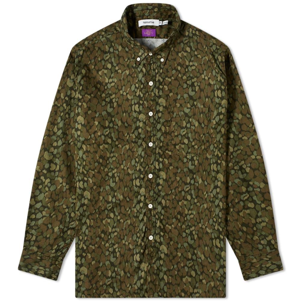 Nonnative Dweller Liberty Print Oxford Shirt - Olive