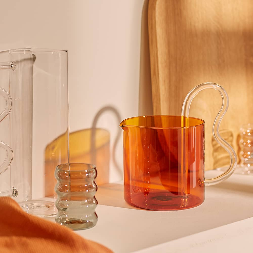Sophie Lou Jacobsen Bean Pitcher - Amber & Clear