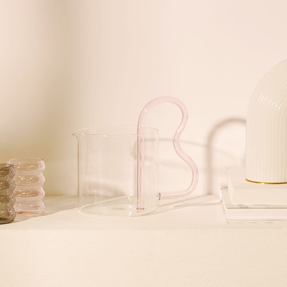 Sophie Lou Jacobsen Bean Pitcher - Clear & Pink