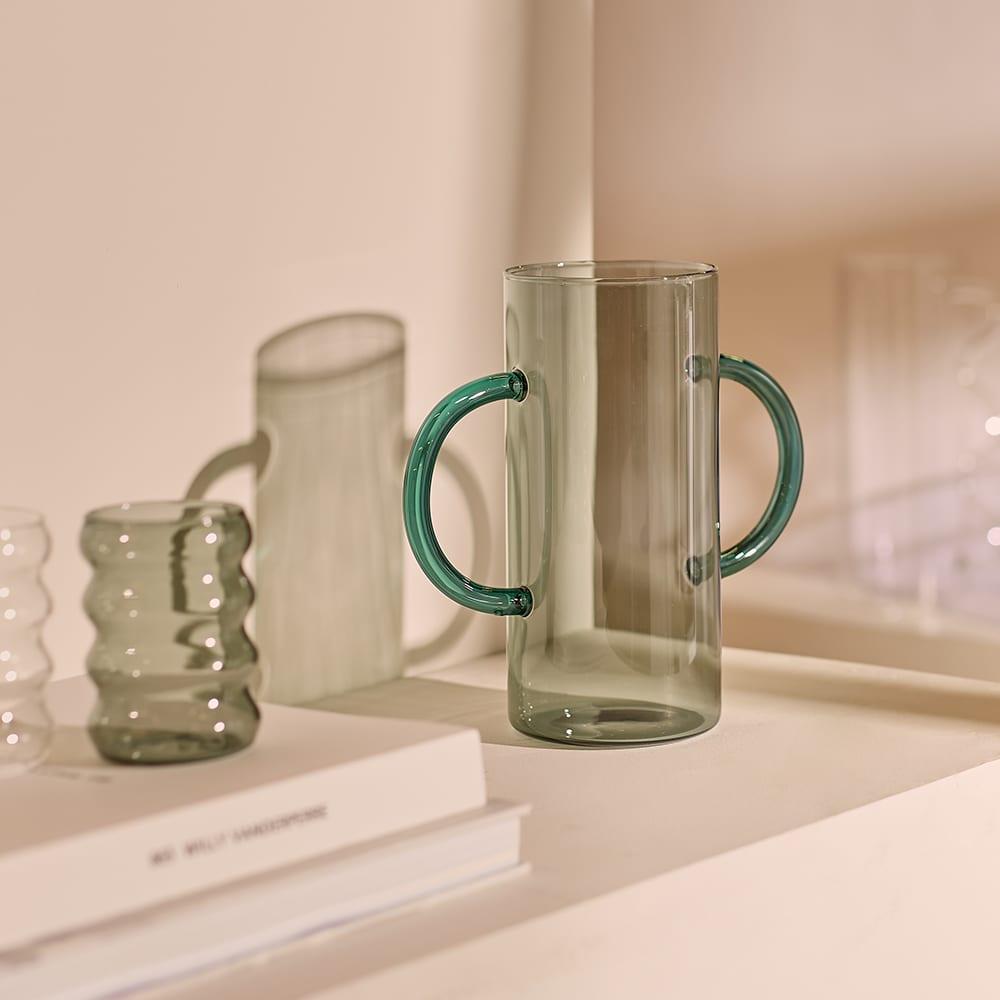 Sophie Lou Jacobsen Handle Vase - Smoke & Teal