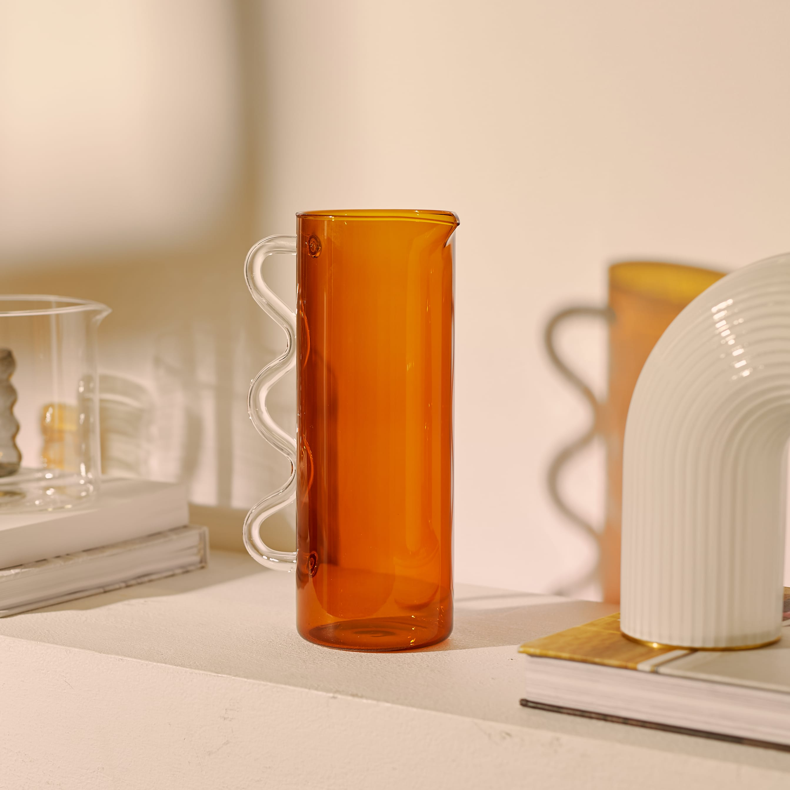 Sophie Lou Jacobsen Wave Pitcher - Amber & Clear
