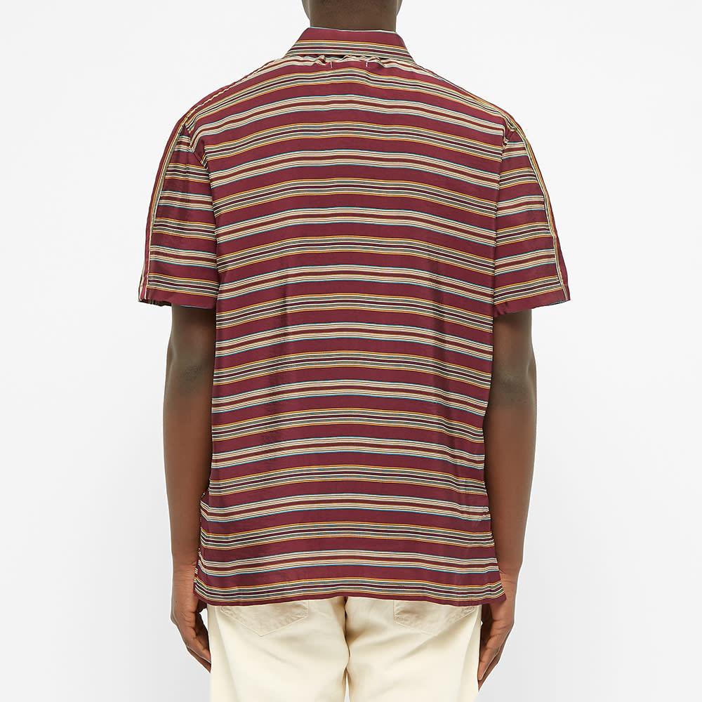 Très Bien Stripe Zip Shirt - Burgundy