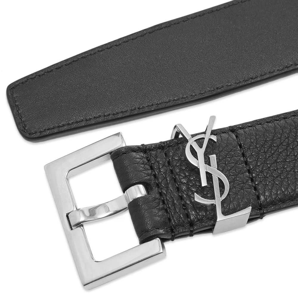 Saint Laurent Metal Logo Grain Leather Belt Black Amp Silver