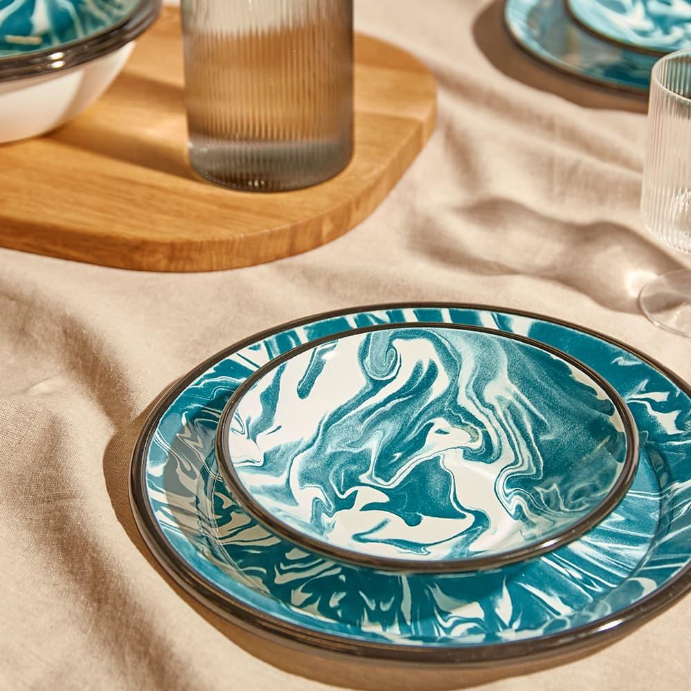 BORNN Enamelware Classic Marble 16cm Bowl - Green