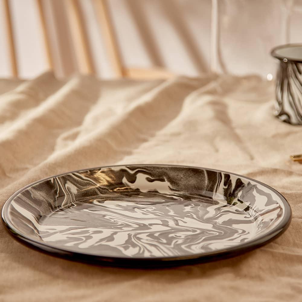 BORNN Enamelware Classic Marble Large Plate - Black