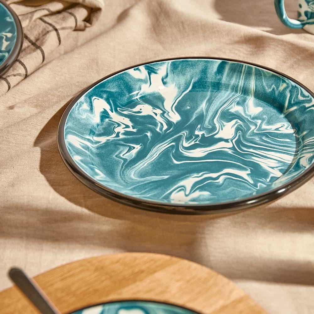 BORNN Enamelware Classic Marble Large Plate - Green