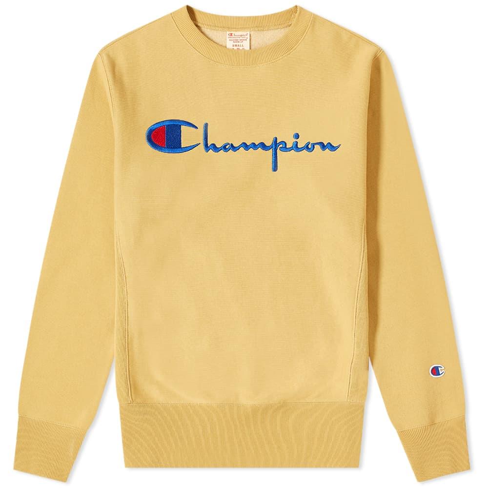 Champion Reverse Weave Script Logo Crew Sweat - Prairie Sand