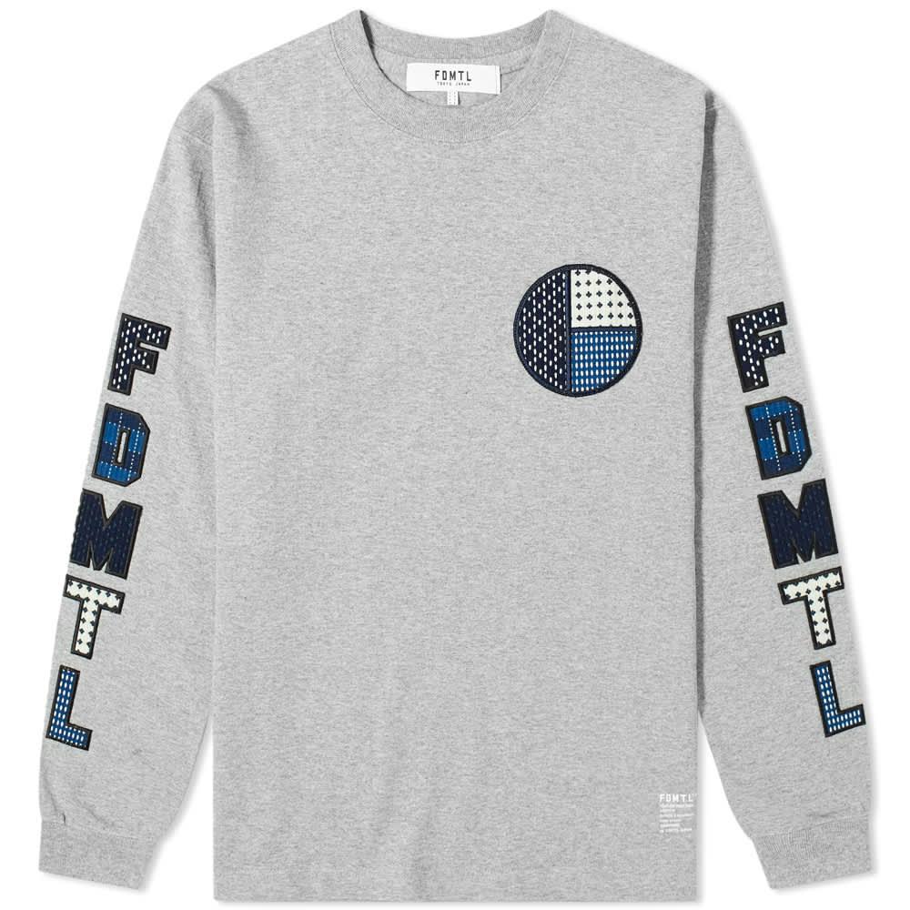 FDMTL Long Sleeve Sashiko Logo Tee - Grey
