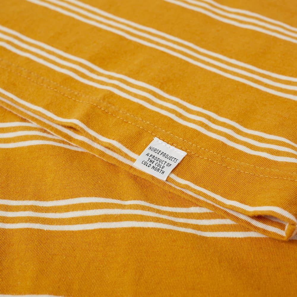 Norse Projects Johannes Cotton Linen Stripe Tee - Cadmium Orange