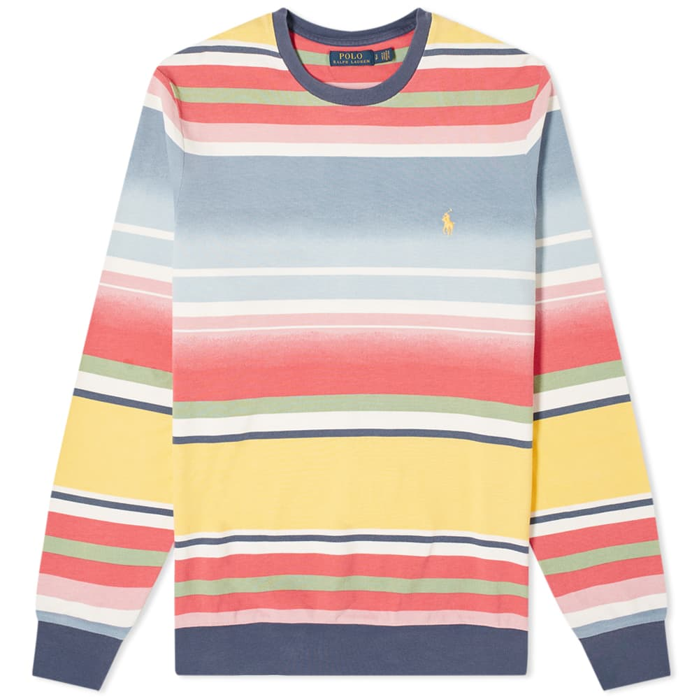 Polo Ralph Lauren Long Sleeve Faded Stripe Pique Tee - French Blue Multi