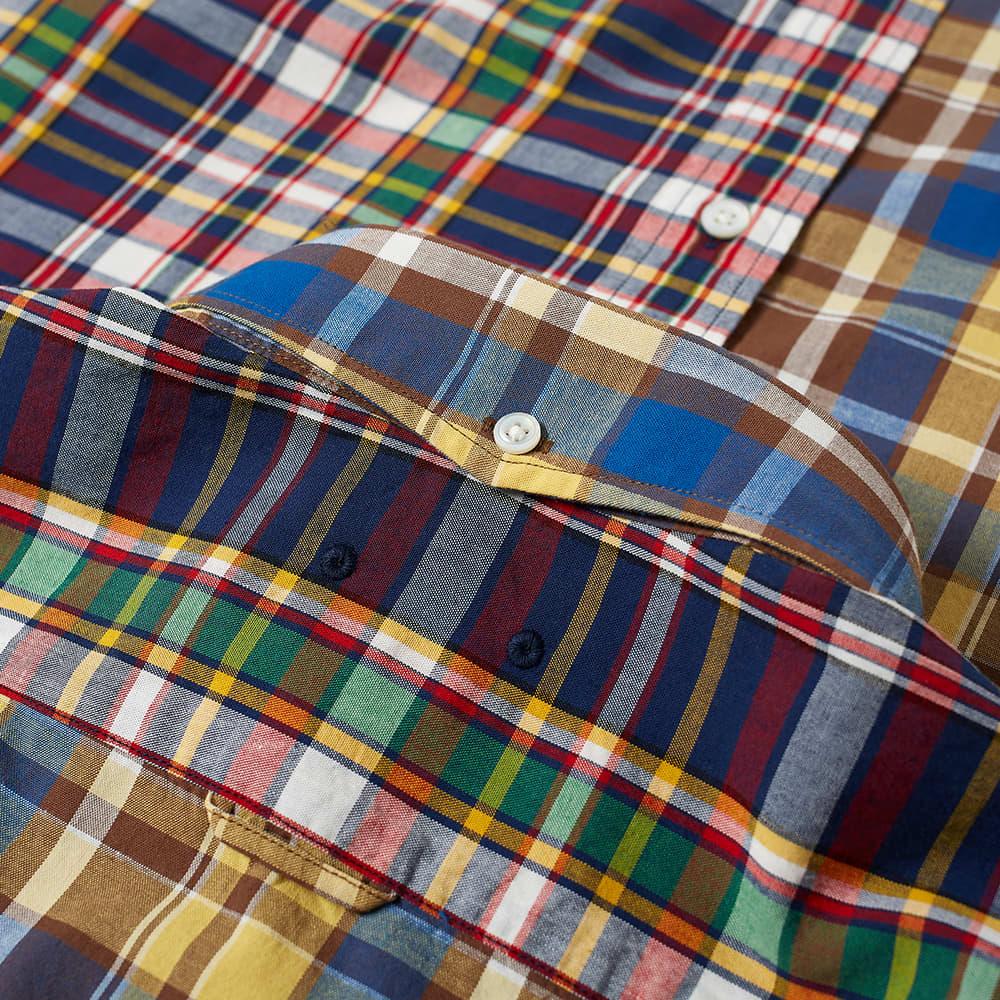 SOPHNET. Short Sleeve Mix Pattern Basic Shirt - Red