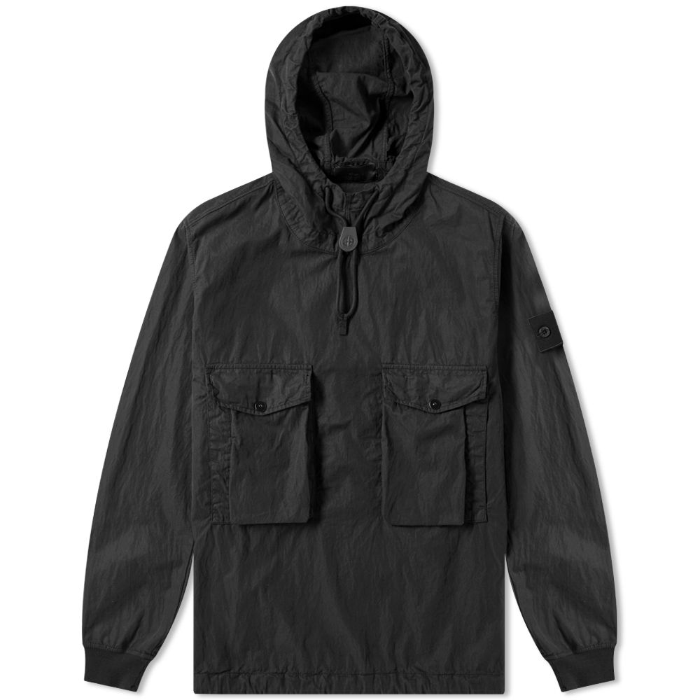 df5b26c39f534 Stone Island Ghost Resin Cotton Popover Hooded Smock Black