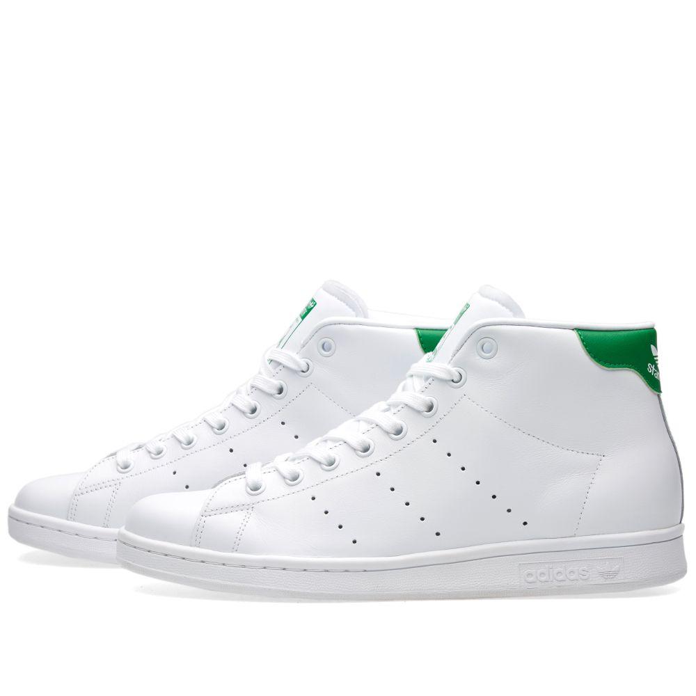Adidas Stan Smith Mid White   Green   END. fa0949c021fe