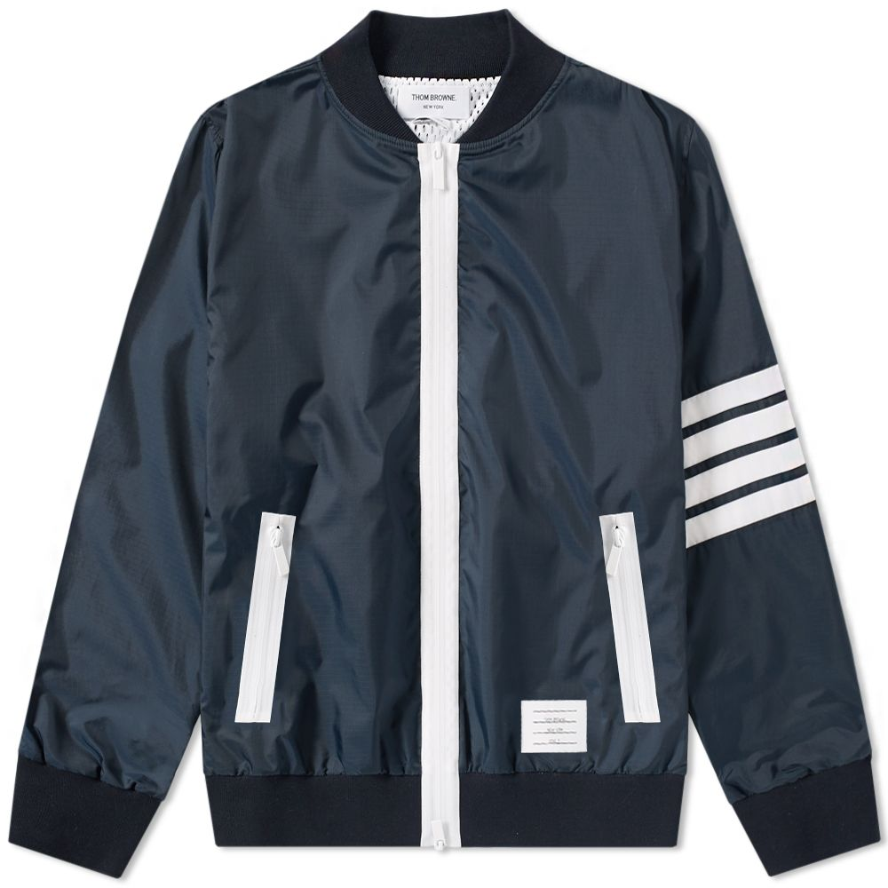 322e703fe59 Thom Browne 4 Bar Ripstop Nylon Bomber Jacket Navy