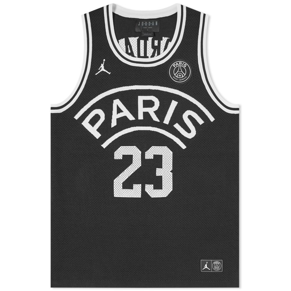 d516e3484ace26 jordan x paris saint-germain flight jersey 23 black   white ...