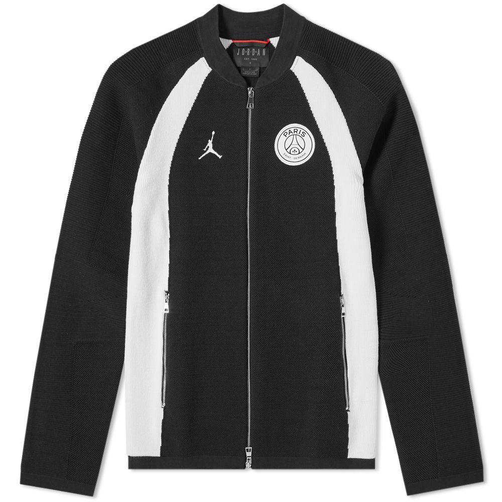 9bd522f9cb32d0 jordan x paris saint-germain flight knit track jacket black   white