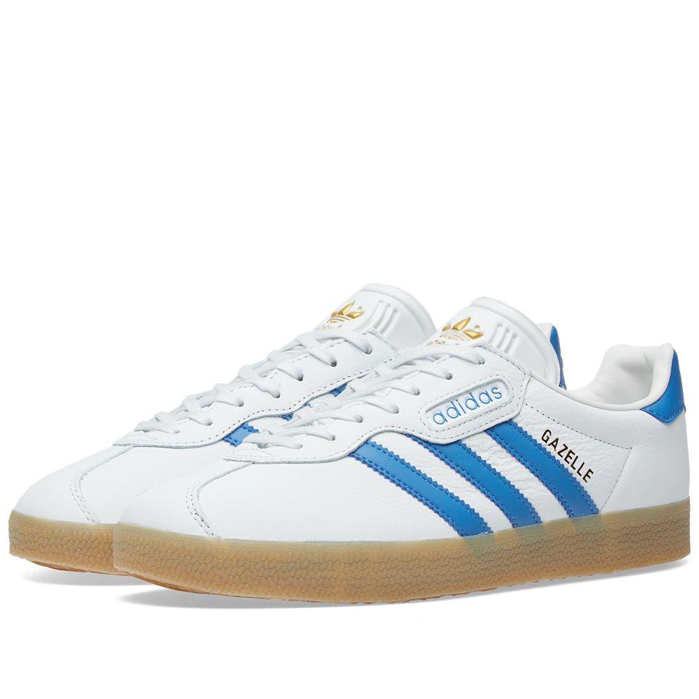 3ba55f3cd39b Adidas Gazelle Super White   Trace Blue