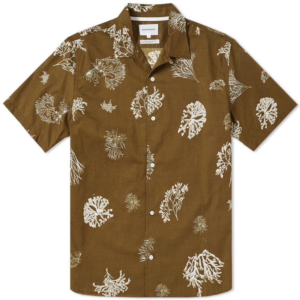 Norse Projects Short Sleeve Carsten Print Shirt Kelp Green End