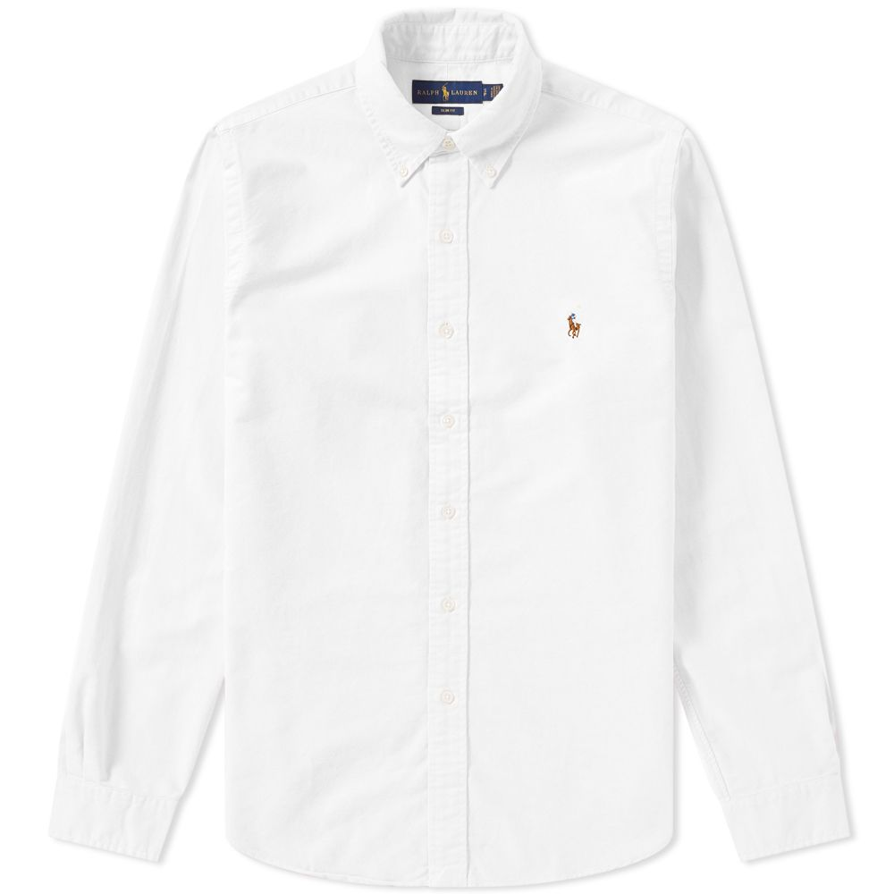 Polo Ralph Lauren Slim Fit Button Down Oxford Shirt. White. £89. image c6e07b6e3509