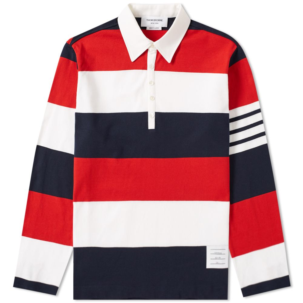 Thom Browne Stripe Rugby Shirt Red White Blue End