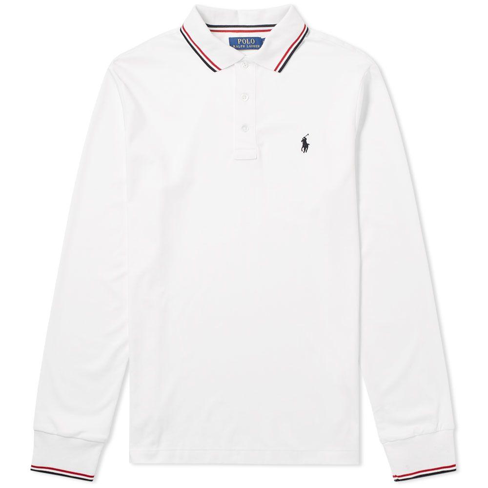 f40c53a2d09ff Polo Ralph Lauren Long Sleeve RWB Tipped Polo White