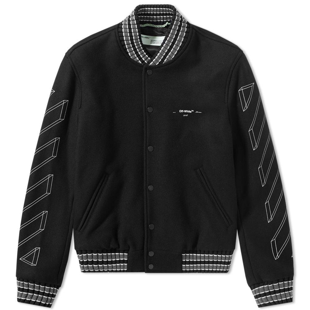 37f82b8df3d4 Off-White Diagonal 3D Line Skinny Varsity Jacket Black   White