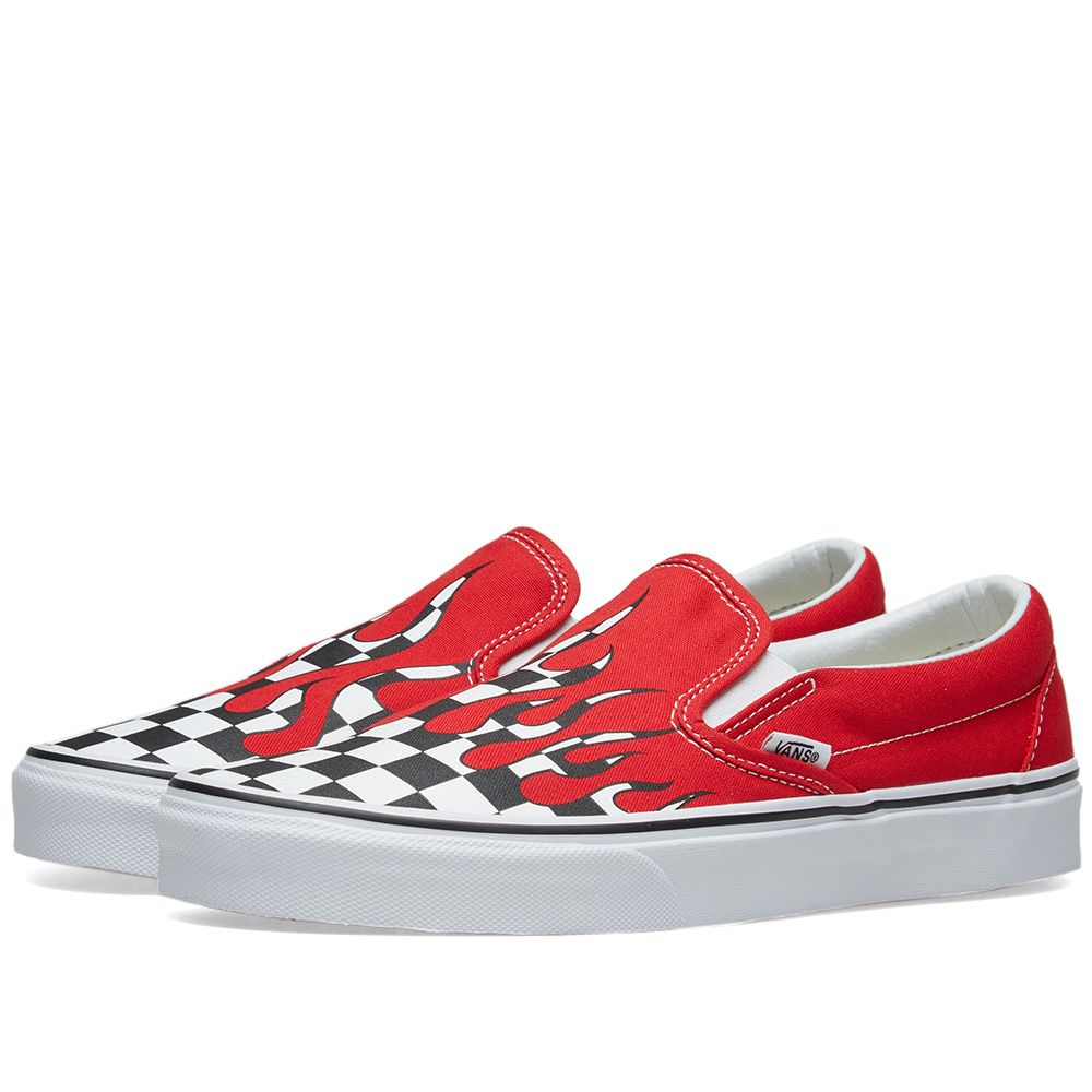 910c457c57ca Vans Classic Slip On Checker Flame Racing Red   True White