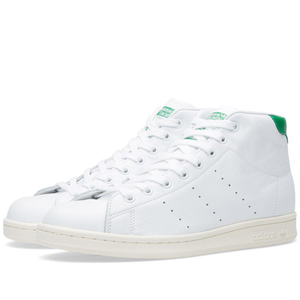 Adidas Stan Smith Mid White, Green   Chalk White   END. e66fc8a6f3c8