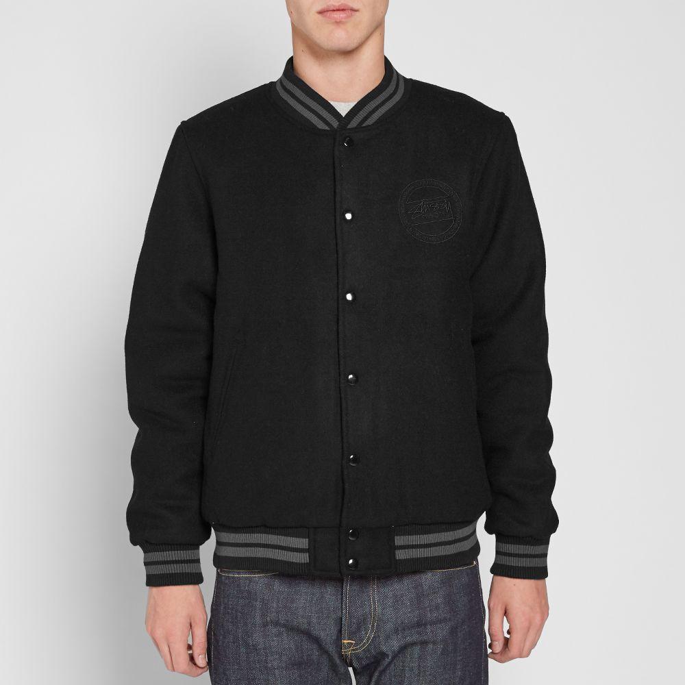 d1caab4c539c Stussy Stock Varsity Jacket Black