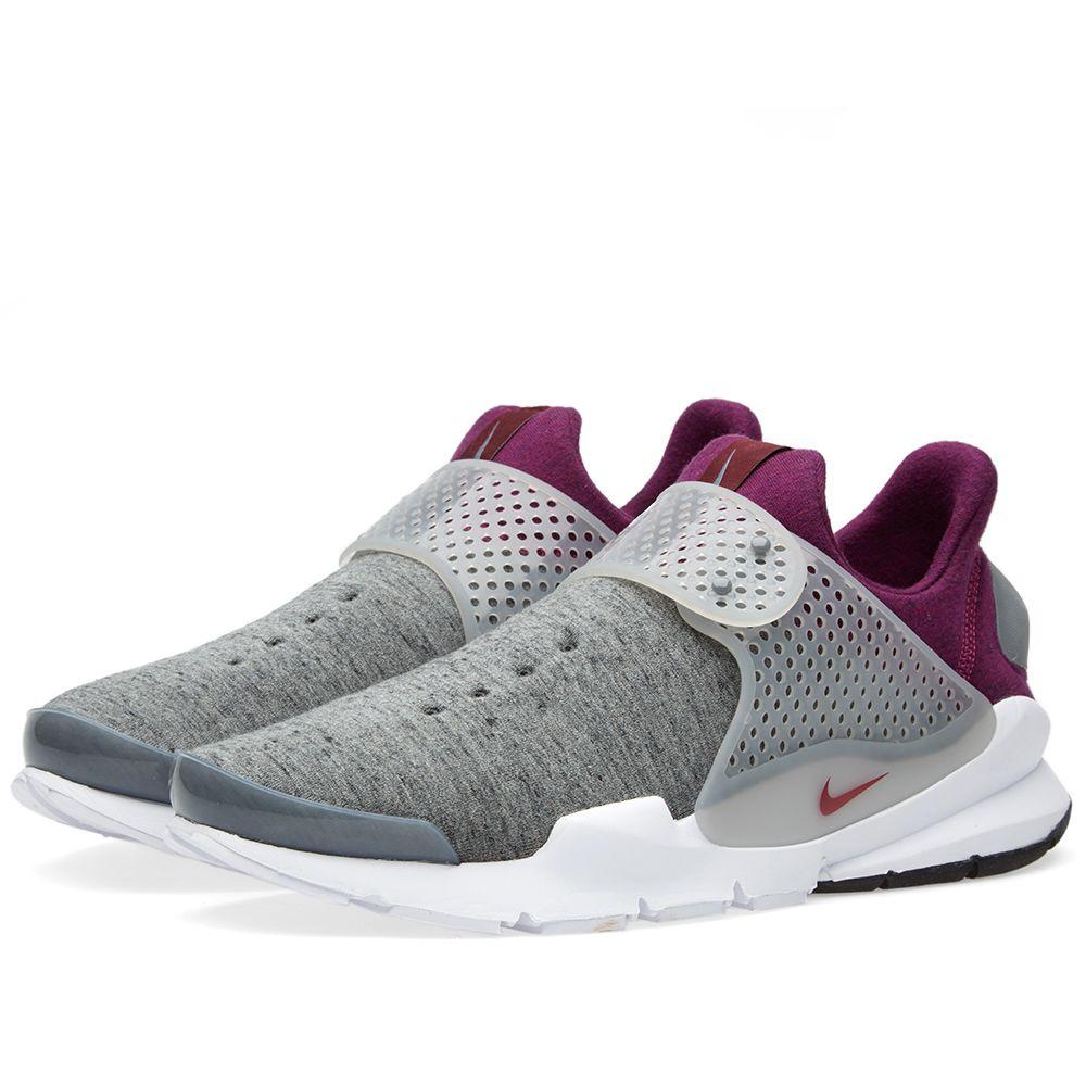 19827b42cd93 Nike Sock Dart Tech Fleece Grey Heather   Mulberry