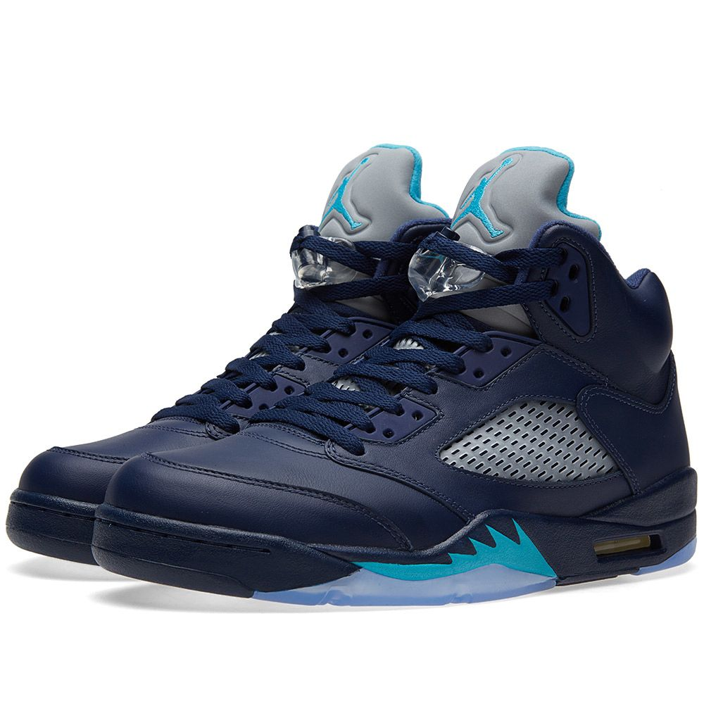 cd48fda35838f0 Nike Air Jordan V Retro  Hornets . Midnight Navy   Turquoise Blue.  DKK1