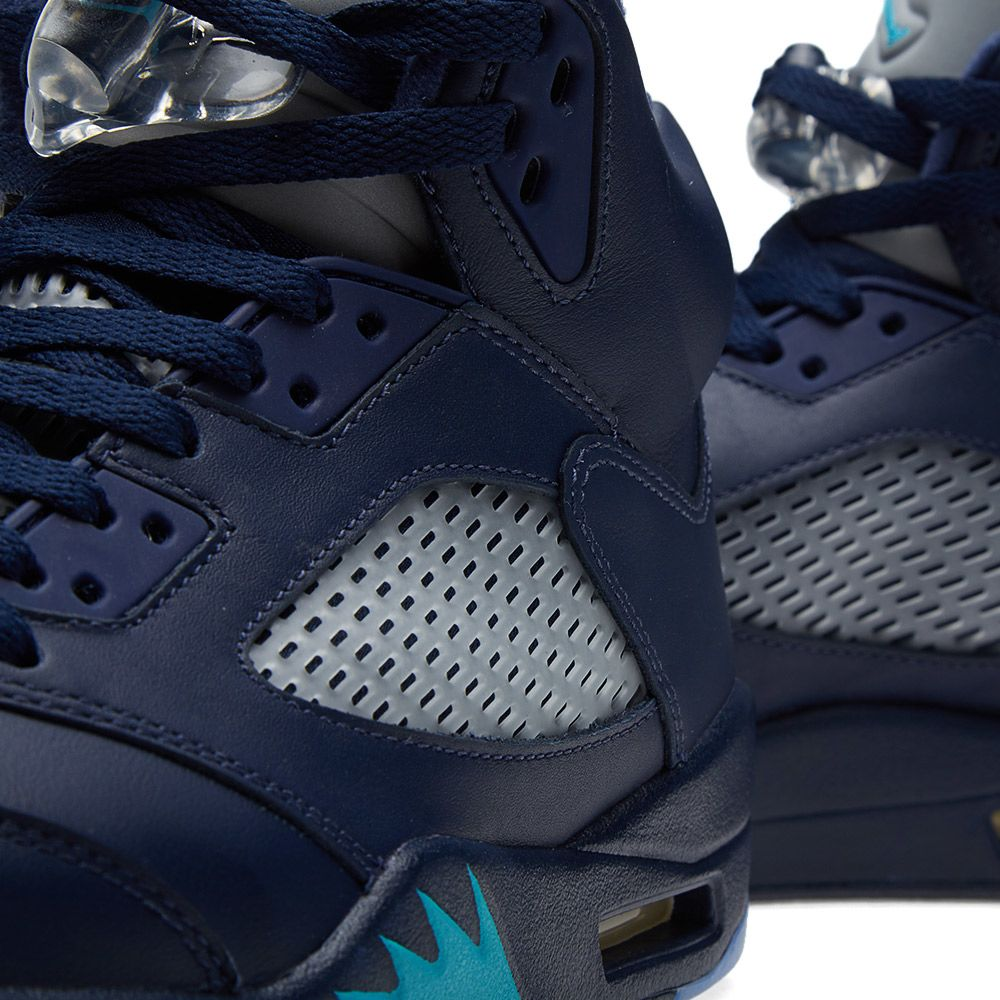 Nike Air Jordan V Retro  Hornets . Midnight Navy   Turquoise Blue.  175.  Plus Free Shipping. image. image. image. image. image. image 9b3a7e54f