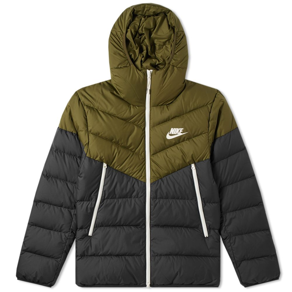 53d58feb727a Nike Down Filled Hooded Windrunner Jacket Olive Canvas