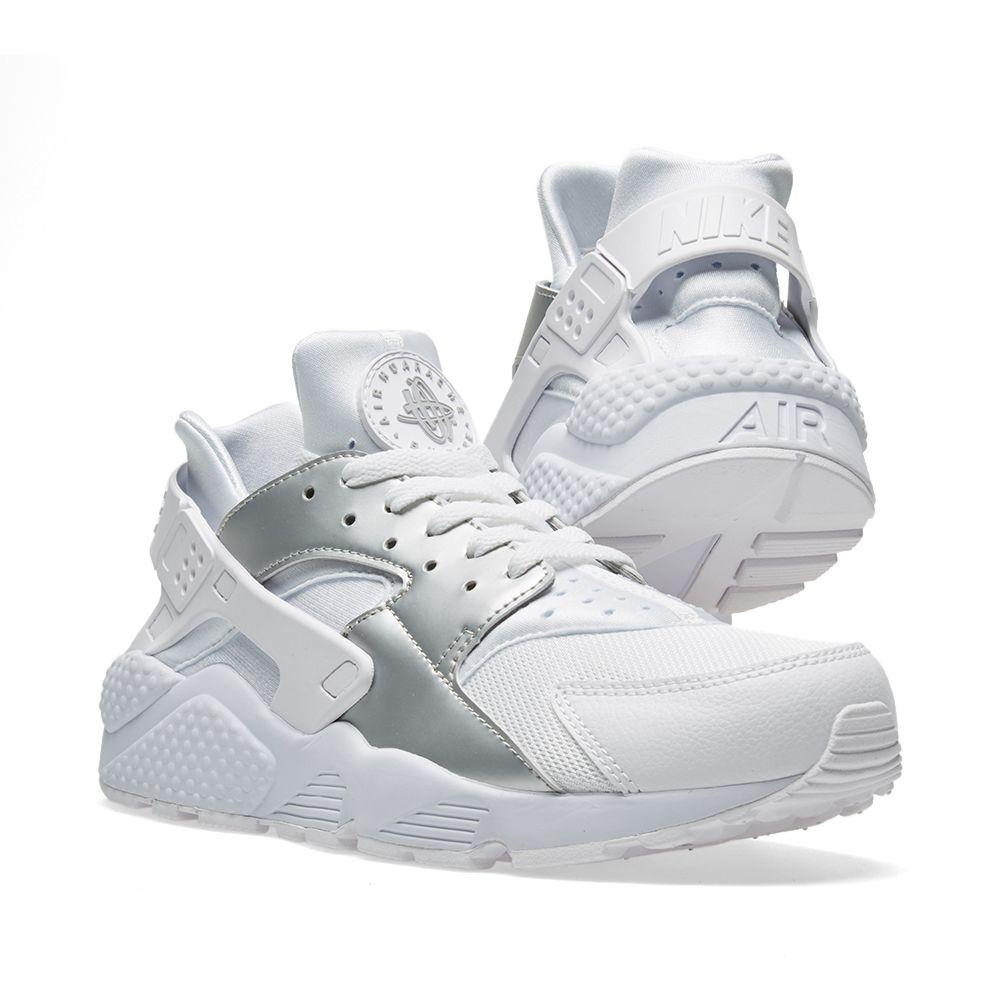 10c74f27bd1ec Nike Air Huarache White   Metallic Silver