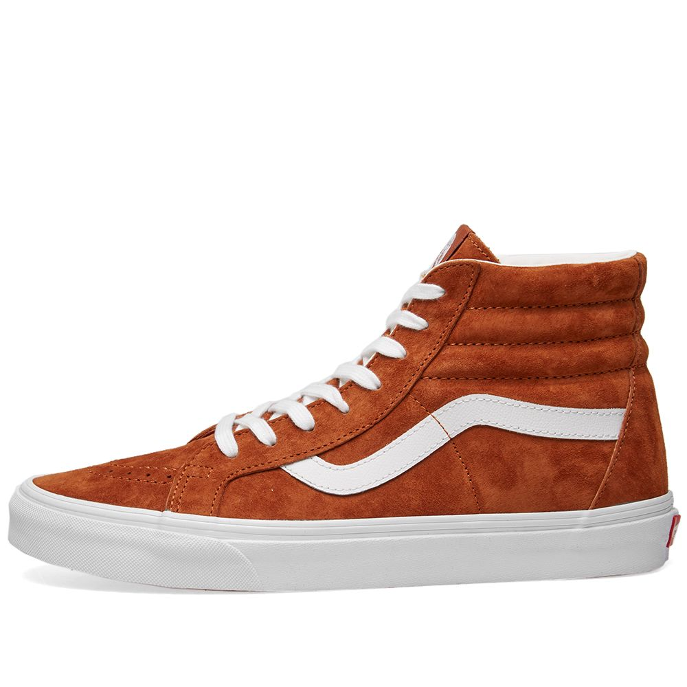 05e3f538bdc0 Vans SK8-Hi Reissue Pig Suede Leather Brown   True White